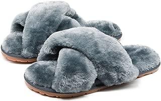 Women's Fuzzy Fluffy Furry Fur Slippers Flip Flop Open Toe Cozy House Memory Foam Sandals Slides Soft Flat Comfy Anti-Slip Spa Indoor Outdoor Slip on