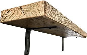 Industrial Forged Steel Floating Shelf L/J Bracket by DIY CARTEL - Heavy Duty Rustic Shelf Brackets - Raw Metal/Steel Floating Shelf Hardware - 2 Pack Wall Mount Shelf Brackets (8