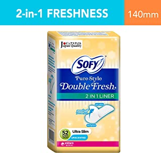 Sofy Pantiliner Pure Style Double Fresh, Unscented, 52ct