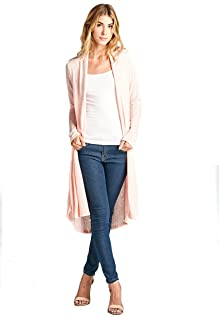 Women's Lightweight Open Front Classic Long Office Cardigan - Made in USA