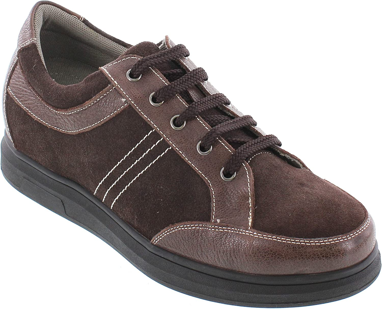 CALTO Men's Invisible Height Increasing Elevator shoes - Brown Suede Leather Lace-up Casual Sneakers - 2.6 Inches Taller - J98022