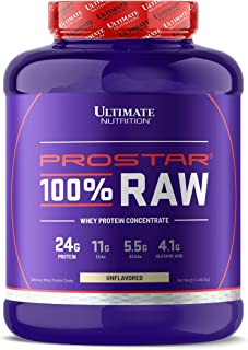 Ultimate Nutrition Prostar 100% Raw Natural Unflavored Whey Protein Powder with 24 Grams of Protein with No Artificial Sweeteners, 67 Servings