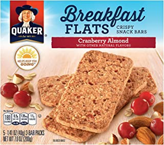 Quaker Baked Flats, Cranberry Almond, 5-3 Bar Packs (Pack of 8)