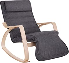 SONGMICS Relax Rocking Chair, Lounge Chair, Recliners Gliders with 5-Way Adjustable Footrest, Natural Frame with Gray Cushion ULYY42GYZ