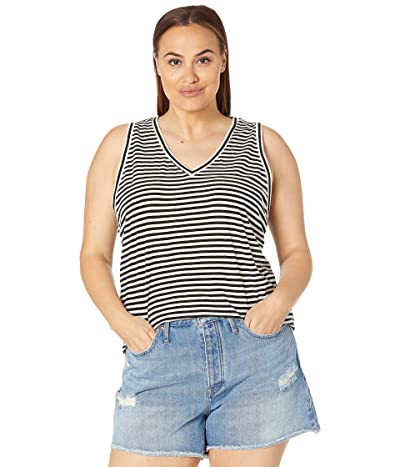 Madewell Plus Whisper Cotton V-Neck Tank in Tierney Stripe