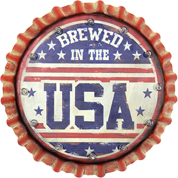 Exhart Beer Bottle Cap Home Decor American Beer Sign Light Up D Cor Solar Or Battery Powered For Use As Indoor D Cor Outdoor Patio D Cor Yard Garden D Cor Party D Cor Man Caves