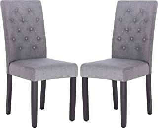 Fabric Dining Chair Modern Tufted Solid Wood Per-Home Padded Parsons Chair for Dining Room Living Room Set of 2 (Gray)