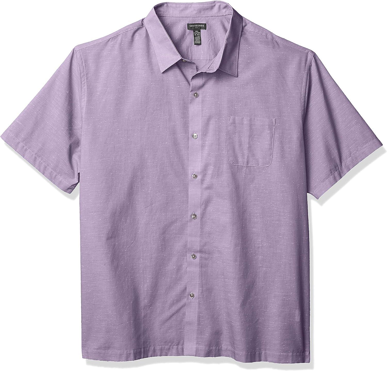 Van Heusen Men's Slim Fit Air Short Sleeve Button Down Poly Rayon Grid Shirt