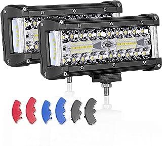 7 inch LED Pods, AKD Part 200W CREE Side Shooter Offroad Flood Spot Combo Led Bumper Lights Driving Lights for Truck Jeep Boat ATV UTV