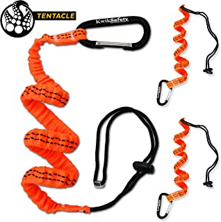 KwikSafety (Charlotte, NC) TENTACLE (3 PACK) Light Duty Tool Lanyard with Aluminum Carabiner Clip Coiled Retractable Bungee Cord with Loop & Adjustable Lock Fall Protection | 10 lb Working Limit