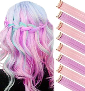 Rainbow Hair Accessories Clip in/On Colored Extensions Wig Pieces Colorful Hairpieces