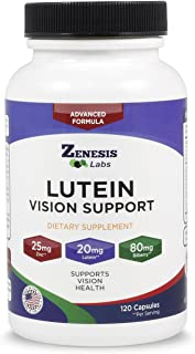 Lutein Vision Support - Essential Eye Vitamin - with Bilberry, Beta-Carotene, Zinc, Grapeseed & Other Minerals - 120 Capsules - 60 Day Supply