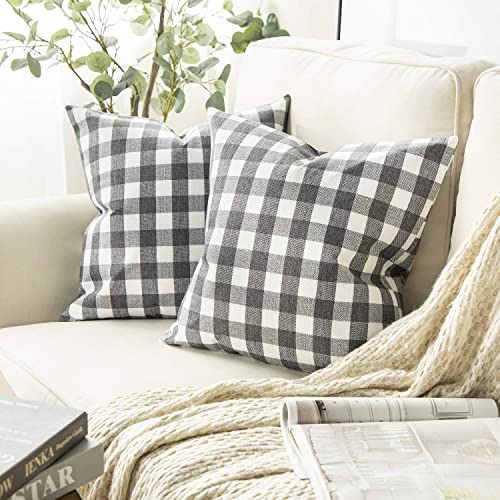 Phantoscope Pack of 2 Checker Plaid Gingham Throw Pillow Covers Farmhouse Classic Rustic Decorative Cushion Case Square Pillowcase, Grey and White, 18 x 18 inches 45 x 45 cm