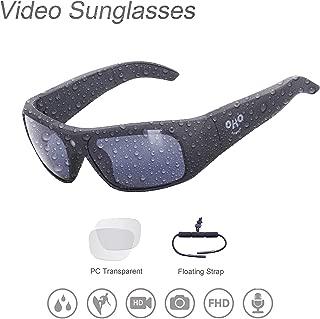 OHO sunshine Waterproof Video Sunglasses,128G Ultra 1080P HD Video Recording Camera and Polarized UV400 Protection Safety Lenses,Unisex Design