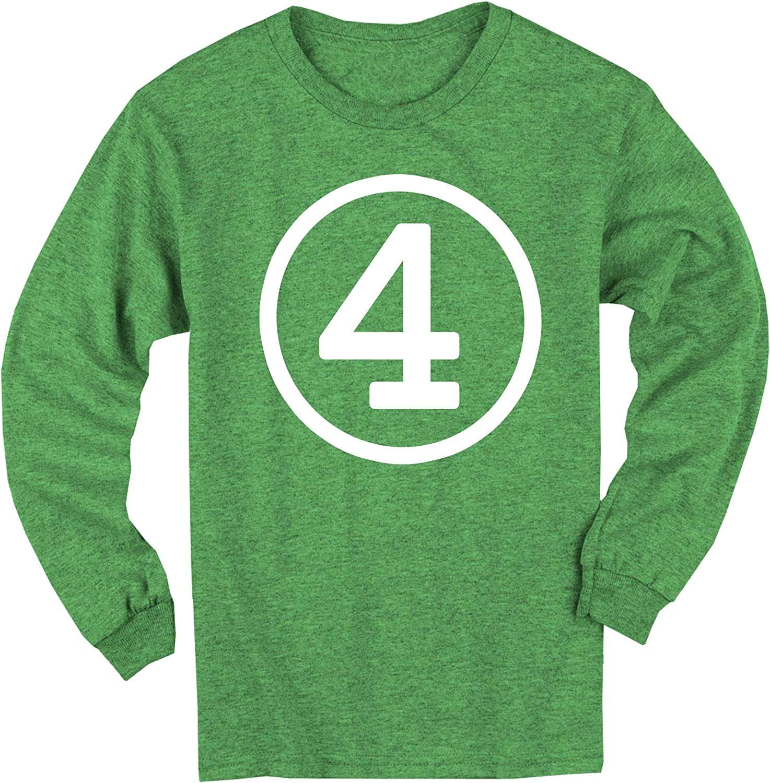 Happy Family Clothing Circle Fourth Birthday Four Long Sleeve 4th Birthday T-Shirt