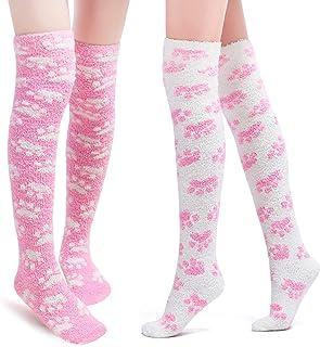 Littleforbig Cute Coral Fleece Thigh High Long Paws Patten Socks 2 Pairs