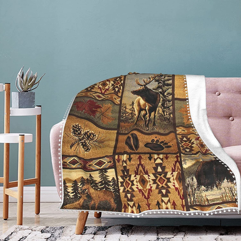 Wilderness Animal Nature Fleece Blanket Pompom Fringe Save money Summ Charlotte Mall with