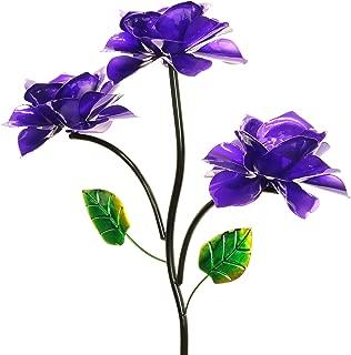 Exhart Three Purple Roses Wind Spinner Garden Stake - Rose Flower Spinners Hand Painted in Metallic Purple & Green Colors - Fade-Resistant Metal Rose Pinwheels - Kinetic Art Flower Décor 20
