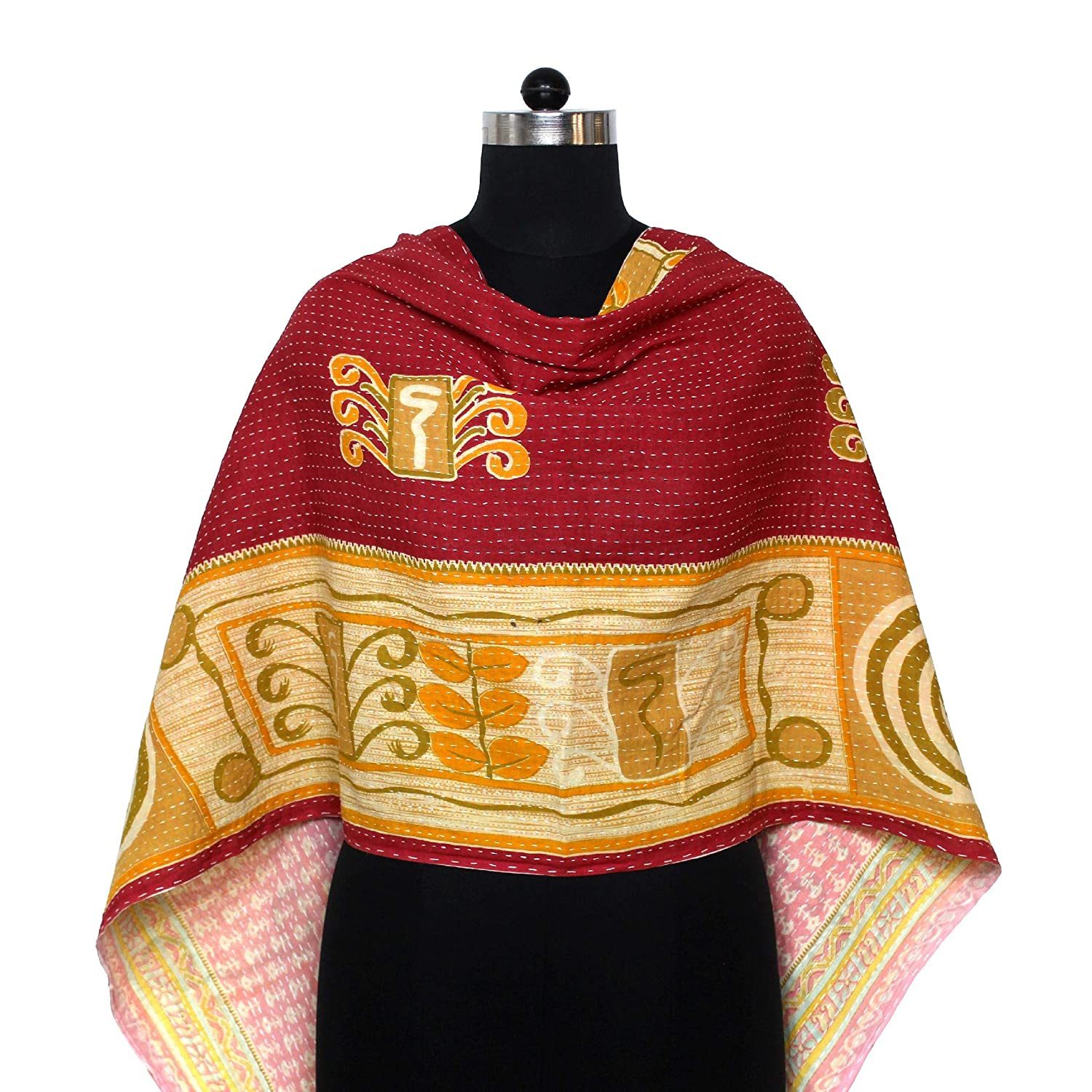 Cotton Kantha Scarf Vintage Max 61% OFF Neck Dupatta Ranking TOP12 Quilted Wrap Stole Hand