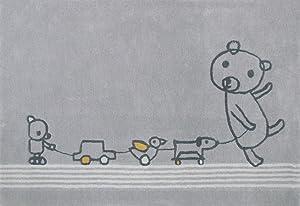 Art For Kids Calidad Etiqueta Oeko-Tex Estándar 100Paintclub de los niños Alfombra, 100% Polipropileno, Gris, 135x 190cm