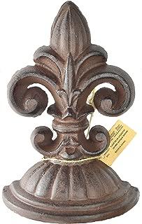 Lulu Decor, Fleur De Lis Sculpture, Door Stop, 2 Lbs, Door Stopper (Antique Brown)