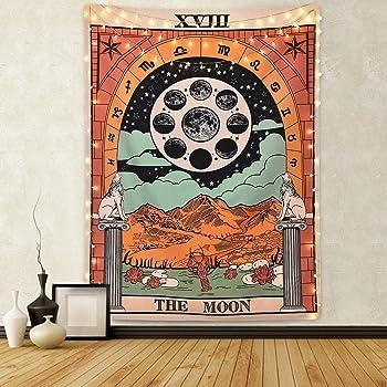 Tapiz de pared de Tarot Amknn, con la luna, estrellas y el sol, para colgar en la pared, decoración para dormitorio u hogar, para agregar misterio a un ambiente, tarot en la Europa medieval, Tapiz de luna, 150cmx130cm