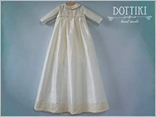 Baby Baptism Outfit with Detachable Skirt, Heirloom Christening Silk Outfit