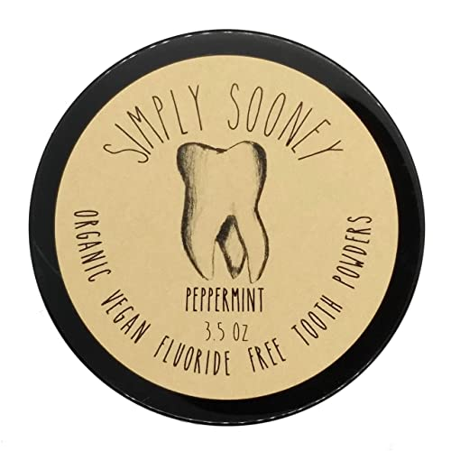 Organic Vegan Fluoride Free Remineralizing Tooth Powder Peppermint Formula Value Size 6 Month Supply