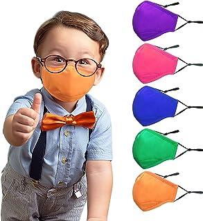 ماسک صورت بچه گانه - 5 بسته ماسک صورت بچه ها قابل استفاده مجدد قابل شستشو ، رنگ های سرد ، الیاف پلی استر پنبه با بندهای قابل تنظیم ، سیم بینی و جیب فیلتر برای دختران و پسران در فضای باز ، مدرسه