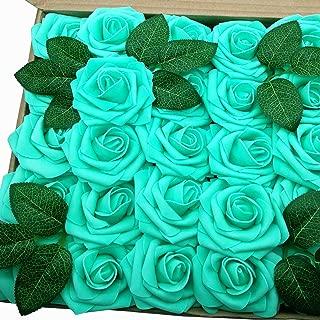 J-Rijzen Jing-Rise Artificial Flowers 50pcs Real Looking Aqua Green Fake Roses for Baby Shower Floral Bridal Shower Centerpieces DIY Wedding Bouquet Rose Decorations (Aqua Green)