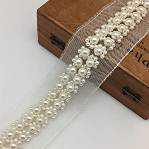 FQTANJU 1 Yard Large Pearl Beads Decorative Tape Lace Edge Trim Ribbon, 5 cm Width Vintage Ivory Edging Trimmings Fabric Embroidered Applique Sewing Craft Wedding Dress Party Clothes Decor