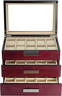 TimelyBuys Luxury 30 Cherry Wood Watch Box Display Case 3 Level Storage Jewelry Organizer with Glass Top, Stainless Steel Accents, 2 Drawers for Closet, Dresser or Vanity