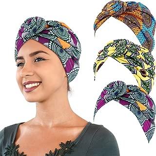 3 Pieces African Turban Head Wrap Scarf Boho Turban Elastic Knotted Beanie Cap