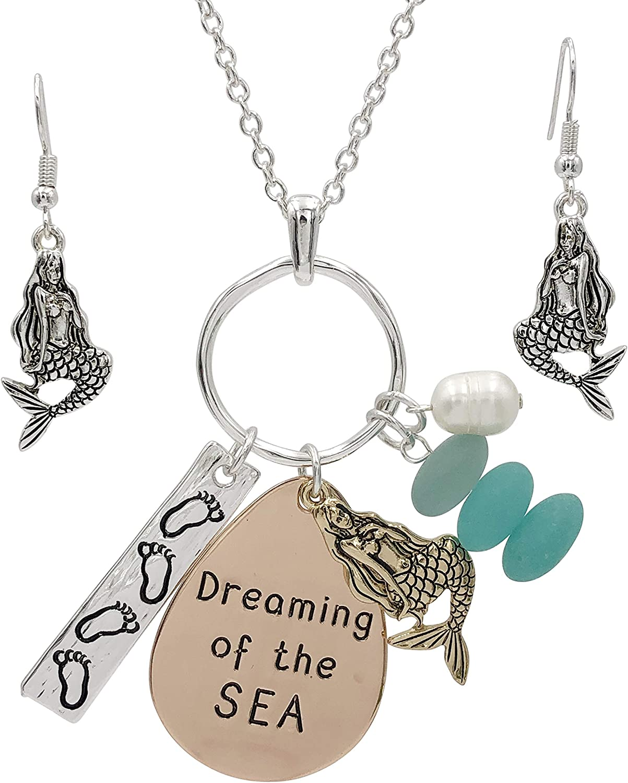 Long Sealife Nautical Theme Faux Sea Glass Cluster Charm Pendant Necklace & Earrings Set