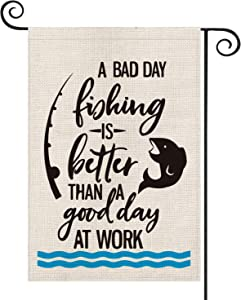 AVOIN Fishing Quote Garden Flag Vertical Double Sided, Fishing Rod Fish Flag Yard Outdoor Decoration 12.5 x 18 Inch