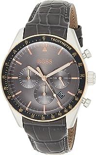 Hugo Boss Watch Mens Grey Chronograph Quartz Watch with Leather Strap 1513628