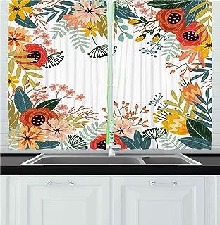 Ambesonne Floral Kitchen Curtains, Vintage Exotic Summer Flowers Botanical Natural Framework Colorful Art Illustration, Window Drapes 2 Panels Set for Kitchen Cafe, 55W X 39L Inches, Multicolor