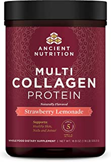 Ancient Nutrition Multi Collagen Protein Powder, Strawberry Lemonade, Formulated by Dr. Josh Axe, Hydrolyzed Collagen Supplement Supports Joints, Hair, Skin and Gut Health, 18.9oz