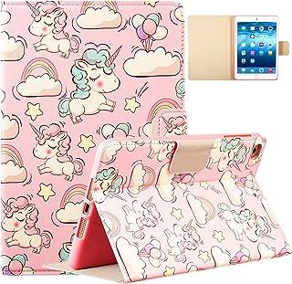 Logee Unicorn Case for iPad Mini 1/2/3/4,PU Leather Cartoon Animal Cute Design Stand Wallet Folio Soft Smart Function Cover,Kawaii Fashion Cool Protective Flip Cases for Kids Teens Girls(Mini1/2/3/4