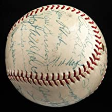 1954 New York Giants World Series Champs Team Signed Baseball Willie Mays JSA