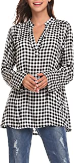Women's Casual Lightweight Roll-Up Sleeve Notch Neck Buffalo Plaid Tunic Pullover Top