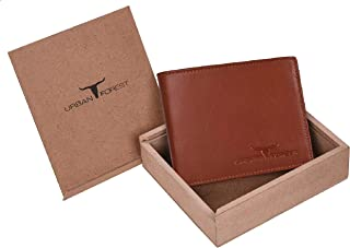 Urban Forest Dakota Cognac Mens Leather Wallet - Packed in Premium Wooden Box for Festive Gifting