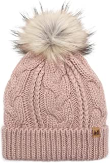 Kids Youth Boys & Girls Ages 7-12 Winter Thick Stretchy Cable Knitted Pom Pom Beanie Hat