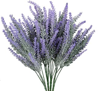 asika Artificial Lavender Flower Fake Flower Bouquet Realistic Lavender Flowers Look More Real for Wedding, Home, Kitchen,Garden,Patio, Indoor Outdoor (4 Bundles)