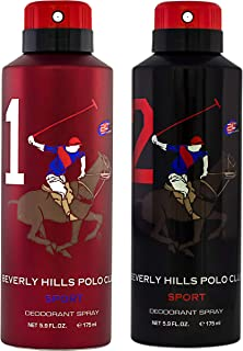Beverly Hills Polo Club Sports No.1 & No.2 Deodorant Combo Pack For Men, 175 ml