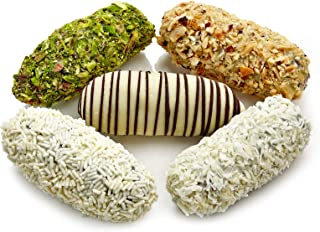 White Chocolate Covered Dates Medjool 1000 Gram (Gourmet Desserts 29 Pieces)(35 Oz Net,3 lbs Gross) Stuffed W/ Premium Almonds,Hazelnut,Pistachio,Cardamoms Ground| Natural Delights in Elegant Gift Box