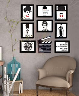 Painting Mantra Art Street - Charlie Chaplin Gallery Wall with Prints and Movie Action Board- Set of 8 Individual Black Wa...