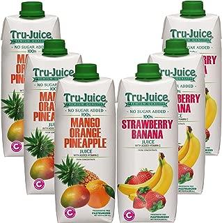 Tru-Juice 100% Jamaican Mango Orange Pineapple & Strawberry Banana Juice 16.9 fl oz (500 mL) Tetra Pak Variety 6 Pack