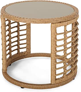Anne Indoor Modern Boho Wicker Side Table with Tempered Glass Top, Light Brown