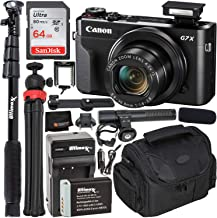 $599 » Canon PowerShot G7 X Mark II Digital Camera (Black) Must-Have Starter YouTube Vlogging Kit - Includes: SanDisk Ultra 64GB SDXC Memory Card + Extended Life NB13L Spare Battery + Video Microphone + MORE